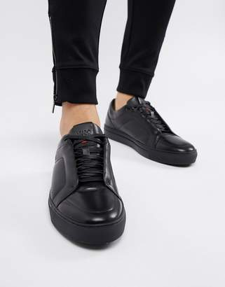 HUGO Futurism Low Leather Sneaker in Black