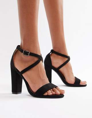 Glamorous Cross Strap Heeled Sandals in Black