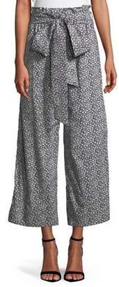 Rebecca Taylor Lauren Tie-Front Floral Wide-Leg Pants