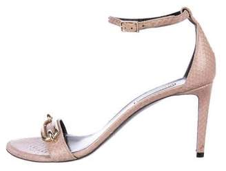 Balenciaga Snakeskin Ankle Strap Sandals