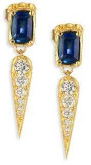 Ila Claude Diamond, Blue Sapphire& 14K Yellow Gold Drop Earrings