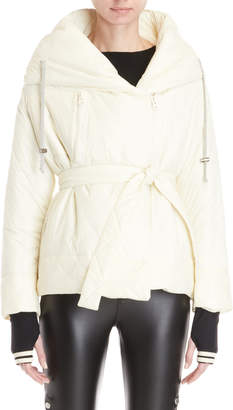 Bacon Ivory Pillow Collar Hooded Crop Jacket