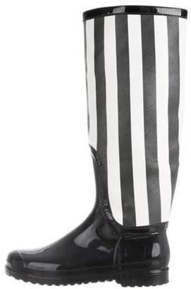 Dolce & Gabbana Leather Knee-High Rain Boots Black Leather Knee-High Rain Boots