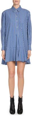 Etoile Isabel Marant Ondria Check-Print Flounce Shirt Dress