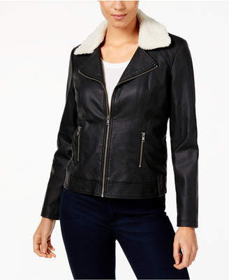 Style&Co. Style & Co Convertible Faux-Leather Sherpa Jacket, Created for Macy's