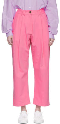 Studio Nicholson Pink Bag Double Pleat Tapered Trousers