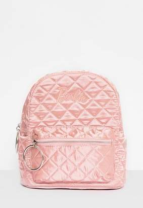 Missguided Barbie x Pink Satin Embroidered Rucksack, Pink