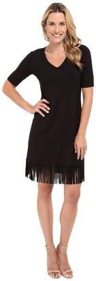Karen Kane Pencil Sleeve V-Neck Fringe Dress Women's Dress