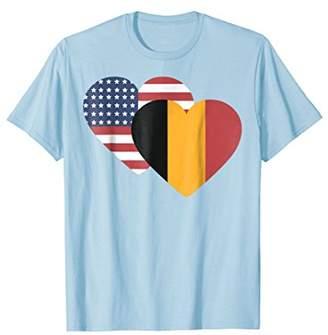 Belgium USA Heart Flag T-shirt Tee Tees T Shirt Tshirt