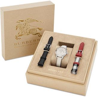 Burberry Women's Swiss White Fabric Strap Watch & Interchangeable Straps Box Set 32mm BU10112 $795 thestylecure.com