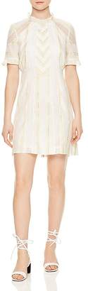 Sandro Mary Floral Embroidered Lace-Inset Mini Dress