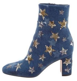 Valentino Star-Studded Denim Boots