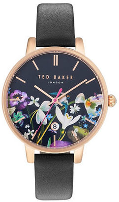 Ted Baker London Femme Women's Rose and Floral Print Leather Strap Watch- 10031552 $155 thestylecure.com
