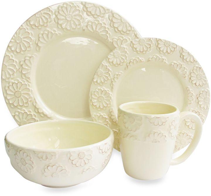 Bed Bath & BeyondAmerican Atelier Bianca Flower Ivory 16-Piece Dinnerware Set