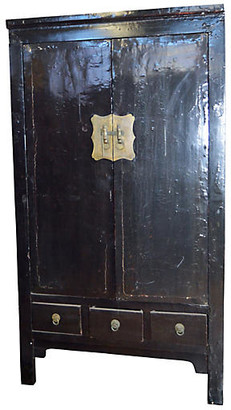 One Kings Lane Vintage Antique Chinese Black Lacquered Cabinet - FEA Home