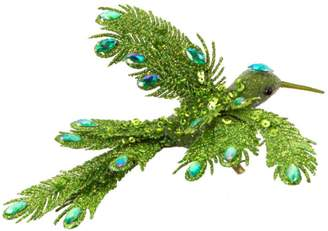 """Melrose Pack of 12 Bright Green Soaring Bird Jeweled Clip-On Christmas Ornaments 6"""""""