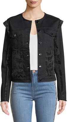 J Brand Slim Cropped Ruffle Denim Jacket