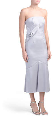 Mikado Twist Front Midi Dress