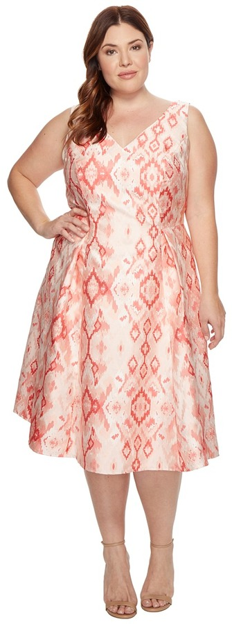 Adrianna PapellAdrianna Papell - Plus Size Aztec Essence Jacquard Tea Length Fit and Flare Women's Dress