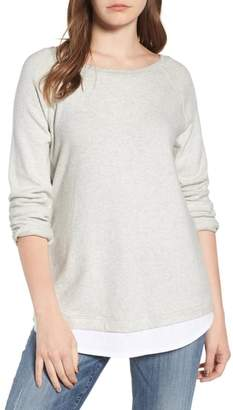Caslon Button Back Layered Look Sweatshirt
