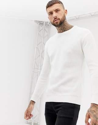 Bershka knitted sweater in cream