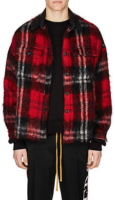 Amiri Men's Plaid Mohair-Blend Oversized Work Shirt Jacket - Red