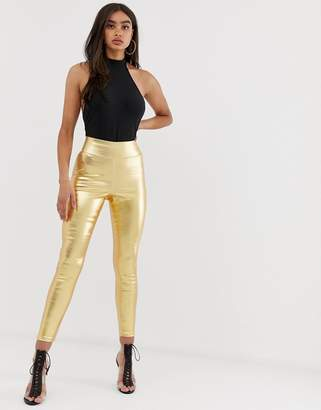 Asos Design DESIGN Pull on jegging in washed metallic gold