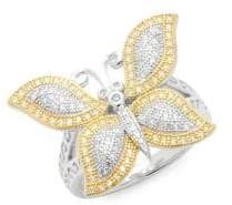 Lafonn Canary Crystal & Sterling Silver Butterfly Statement Ring