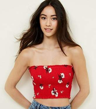 New Look Red Floral Shirred Bandeau