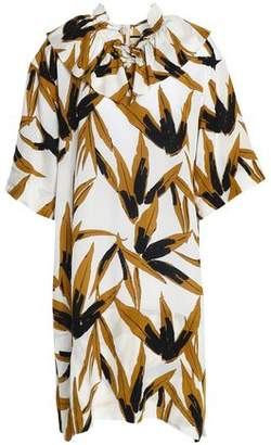 Marni Ruffle-Trimmed Printed Twill Mini Dress