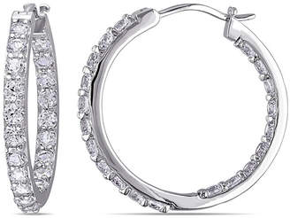 JCPenney FINE JEWELRY Lab-Created White Sapphire Sterling Silver Inside-Out Hoop Earrings
