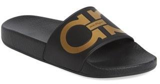 Women's Salvatore Ferragamo Logo Slide Sandal $195 thestylecure.com