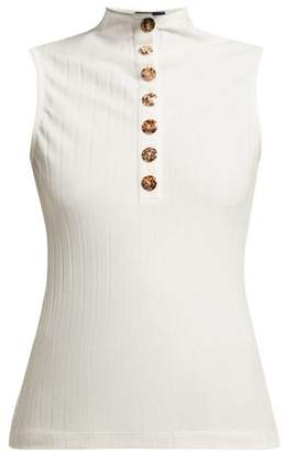 Albus Lumen - Rida Shell Button Cotton Blend Top - Womens - White