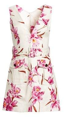 Zimmermann Corsage Orchid-Print Linen Safari Dress