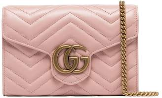 5820596d2298 Gucci pink GG plaque quilted leather crossbody bag