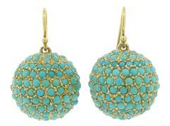 Jennifer Meyer Large Turquoise Disco Ball Earrings - Yellow Gold