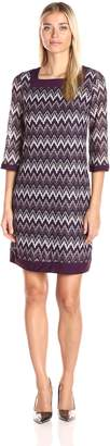 Sandra Darren Women's 1 Pc 3/4 Bell Sleeve Novelty Knit Square Neck Dress