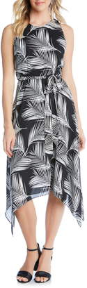 Karen Kane Handkerchief Hem Palm Print Crepe Dress