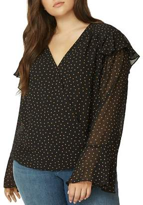 Sanctuary Curve Cori Ruffle Dot Blouse