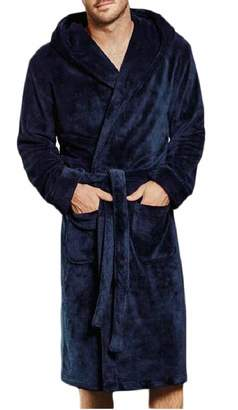 Tymhgt-CA Men's Fleece Bathrobe Autumn Plush Robe Plush Shawl Kimono Bathrobe 2XL