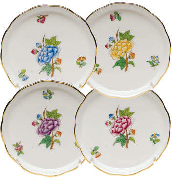 Herend Floral Porcelain Coasters, Set of 4