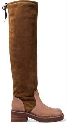 4c7e1c758d7 See by Chloe Leather-paneled Suede Over-the-knee Boots