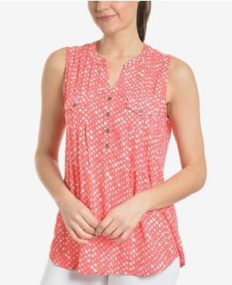 NY Collection Pleated Dot-Print Sleeveless Top