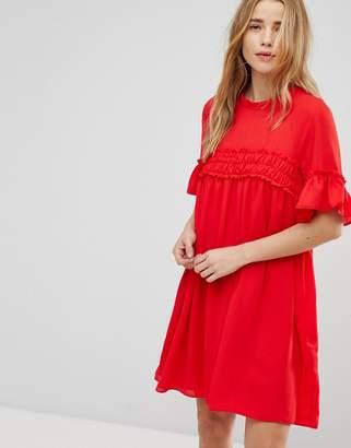 Asos DESIGN Shirred Smock mini dress