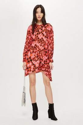 Topshop Petite Houndstooth Asymmetric Shift Dress