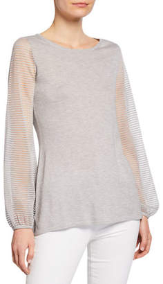 Neiman Marcus Cashmere-Blend Scoop-Neck Sheer Blouson-Sleeve Slim Fit Top