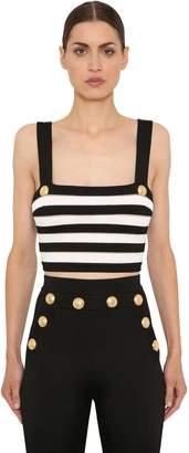 Balmain Striped Knit Crop Top