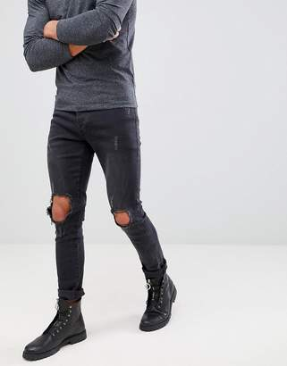 Mennace Washed Black Busted Knee Relaxed Skinny Makavelli Jeans