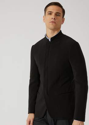 Emporio Armani Ribbed Techno Jersey Jacket With Hidden Buttons