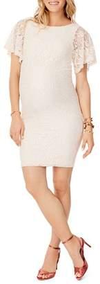 Ingrid & Isabel Maternity Lace Flutter-Sleeve Dress